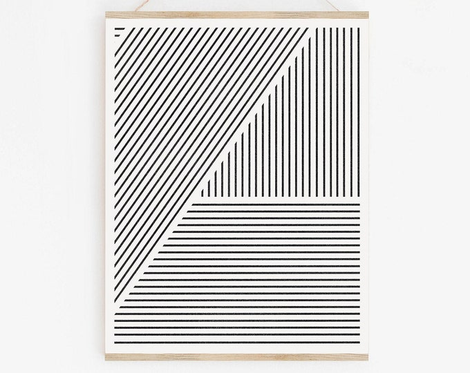 Black and White Stripe Printable Art, Minimalist Wall Art Printable, Geometric Art Print