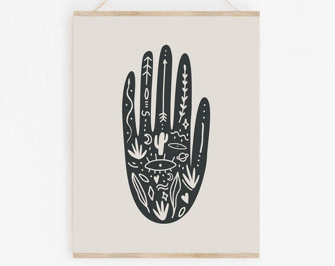 Modern Retro Hand Print, Printable Wall Art, Abstract Geometric Art Print, Abstract Mid Century Modern Hand Print