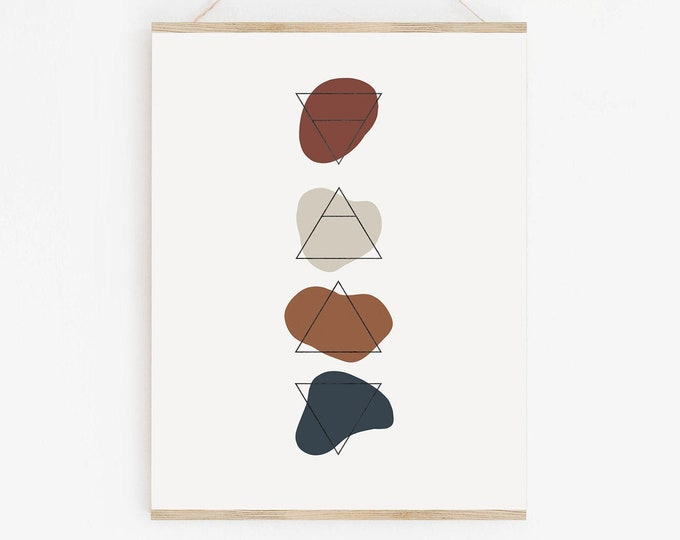 Burnt Orange Terracotta Elements Wall Art Printable, Neutral Tone Abstract Art Print, Mid Century Modern Shapes Wall Art Printable