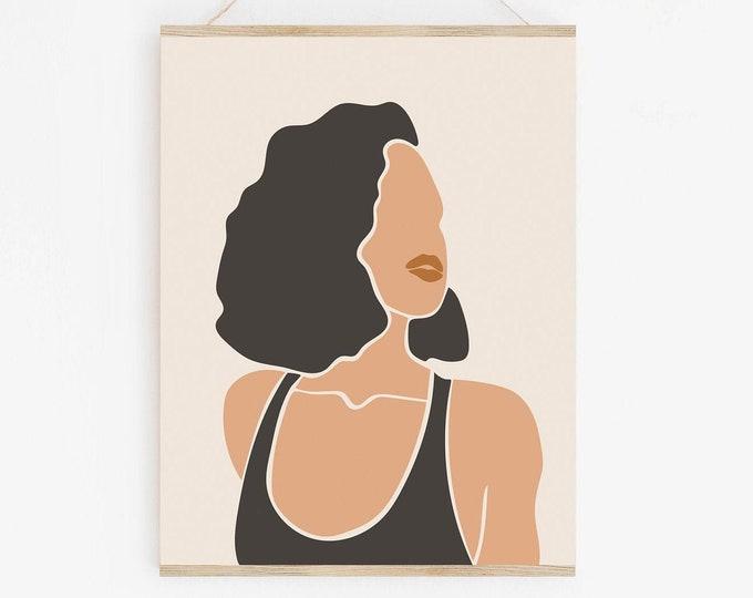 Woman Face Wall Art Printable, Neutral Tone Abstract Woman Art Print, Modern Printable Wall Art