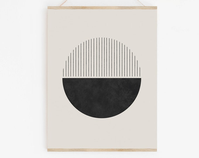 Woodblock Style Printable Wall Art, Mid Century Modern Abstract Circle Print, Modern Retro Geometric Art Print