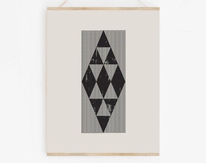 Mid Century Woodblock Style Print With Geometric Diamonds, Printable Wall Art With Geometric Line Art