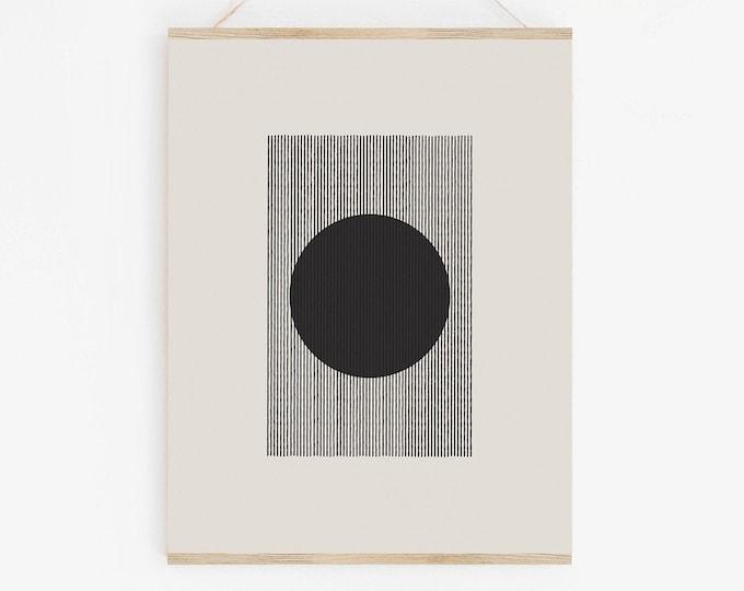 Woodblock Style Modern Retro Printable Wall Art, Mid Century Modern Printable, Instant Download Geometric Art Print