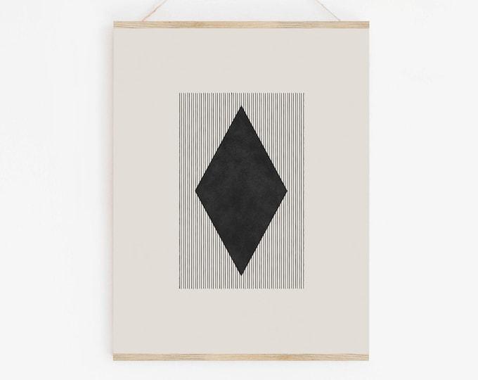 Geometric Abstract Woodblock Art Print, Neutral Tone Diamond Printable Wall Art, Instant Download
