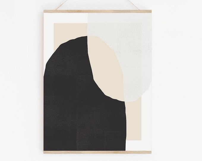 Abstract Shapes Print Instant Download, Abstract Mid Century Arches Printable Wall Art Digital Print, Black and White Art Print