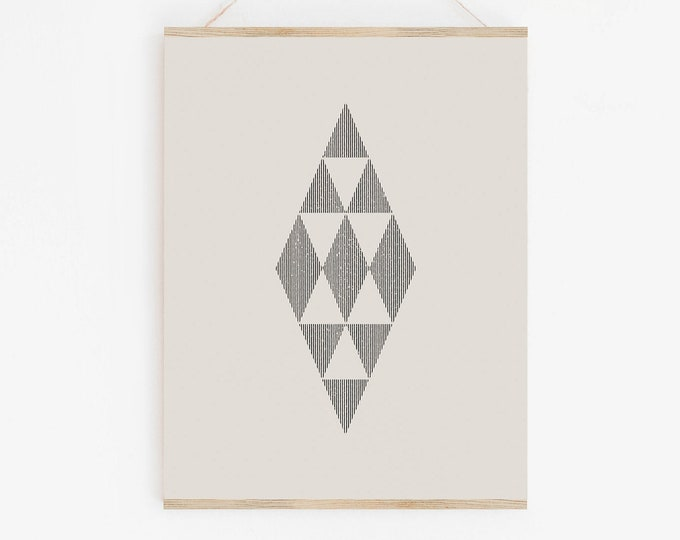 Woodblock Style Geometric Lines Printable Wall Art, Abstract Mid Century Diamond Print