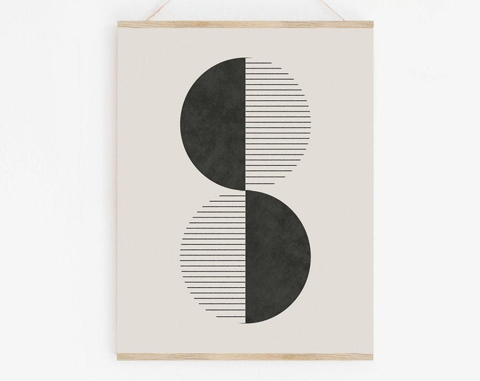 Modern Retro Printable Wall Art, Woodblock Geometric Art Print, Mid Century Modern Abstract Print