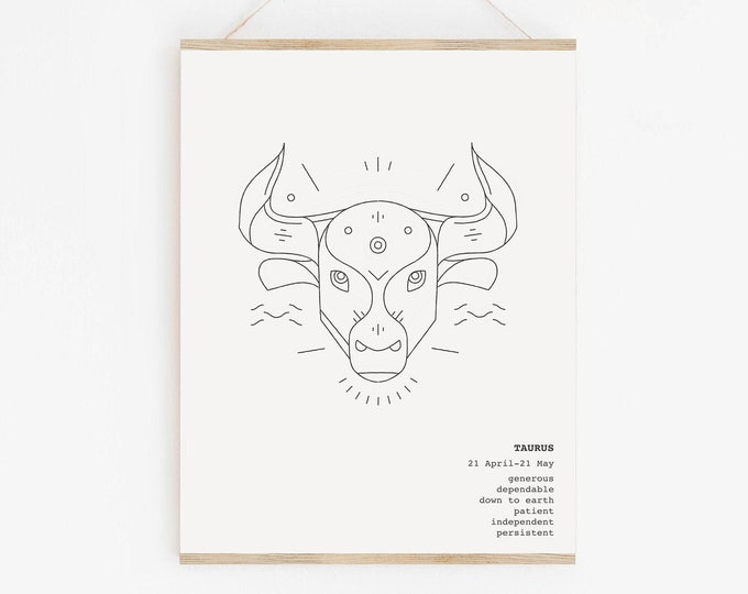 Taurus Astrology Wall Art Printable, Scorpio Zodiac Birthday Gift, Astrology Printable Wall Art