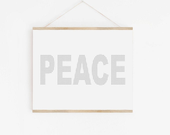 Peace Symbol Art Print, Black and White Typography Printable Wall Art, Peace Typography Print