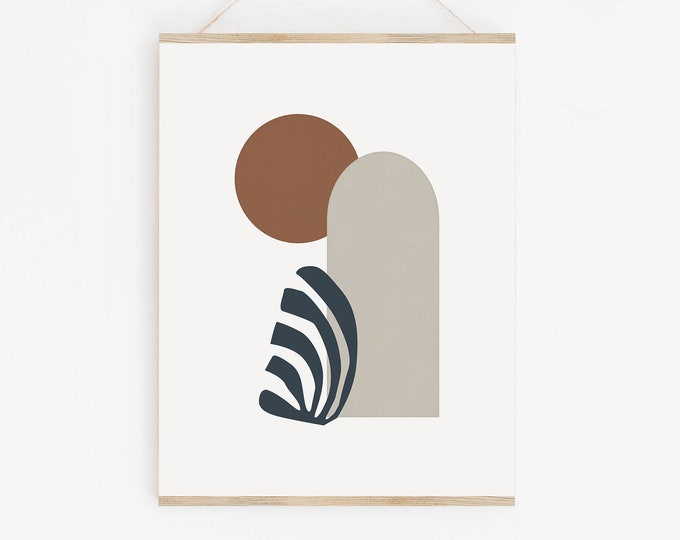 Terracotta Mid Century Abstract Wall Art Print, Neutral Tones Abstract Shapes Printable Poster