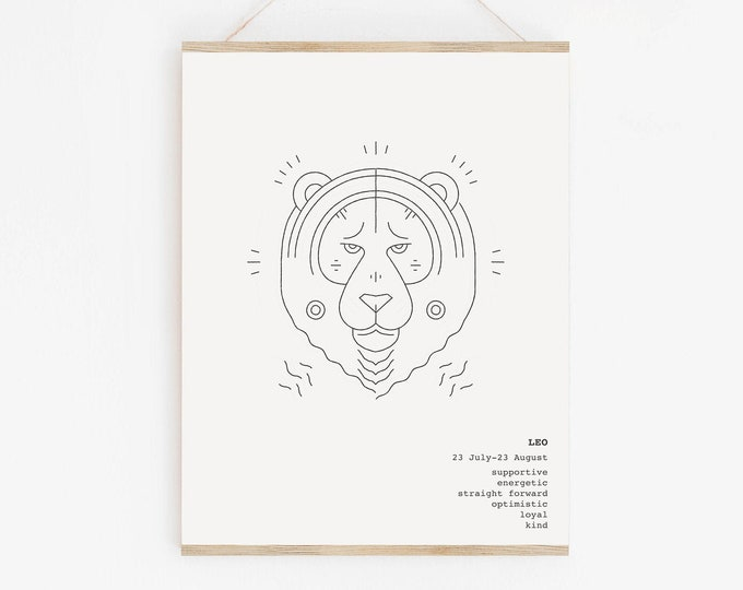 Leo Astrology Printable Wall Art, Zodiac Wall Art Print, Leo Zodiac Birthday Gift
