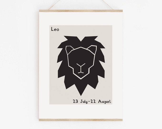 Leo Zodiac Art Print, Leo Star Sign Birthday Gift, Leo Astrology Mid Century Style Wall Art Printable