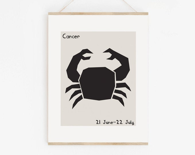 Cancer Astrology Mid Century Style Wall Art Printable, Cancer Zodiac Art Print, Cancer Star Sign Birthday Gift