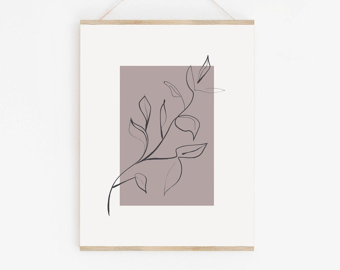 Minimal Leaf Wall Art Printable, Botanical Line Art Print, Neutral Tone Wall Art Print Digital Download