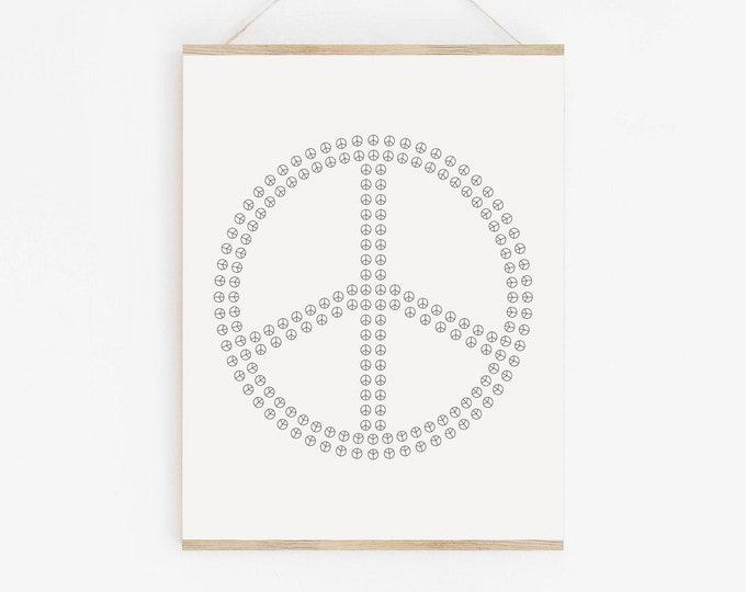 Peace Sign Art Print, Peace Symbol Line Drawing Print, Black and White Printable Wall Art Print