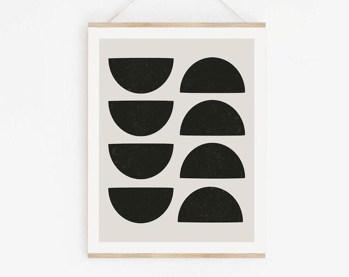 Abstract Mid Century Modern Print, Minimalist Circle Shapes Art Print, Printable Modern Art Print