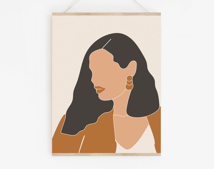 Neutral Tone Woman Face Wall Art Print, Abstract Woman Art Print, Modern Printable Wall Art