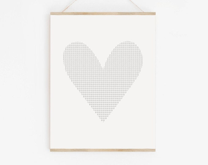 Mini Heart Art Print, Heart Symbol Wall Art Print, Black and White Printable Wall Art