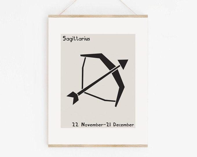 Mid Century Style Sagittarius Astrology Printable Art, Sagittarius Birthday Gift, Sagittarius Zodiac Wall Art Print
