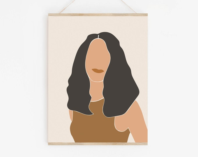 Woman Face Modern Printable Poster, Abstract Neutral Tone Woman Art Print, Earth Tone Female Art Print
