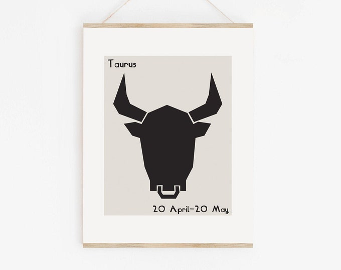 Taurus Astrology Mid Century Style Wall Art Print, Taurus Zodiac Printable Art, Taurus Star Sign Birthday Gift