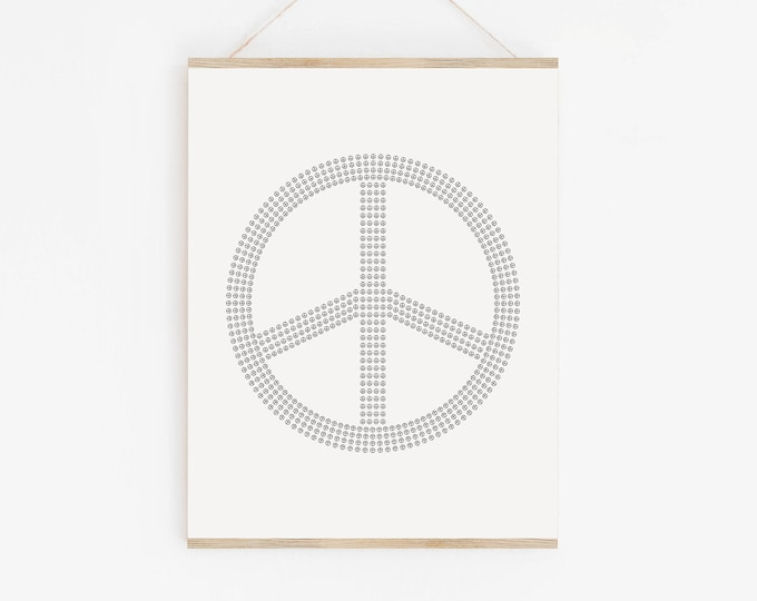 Peace Sign Art Print, Peace Symbol Line Drawing Print, Black and White Printable Wall Art Print