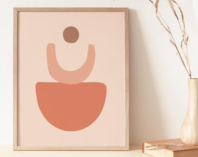 Terracotta Art Print Instant Download, Abstract Earth Tone Circles Printable Wall Art Digital Print, Mid Century Circles Wall Art Print