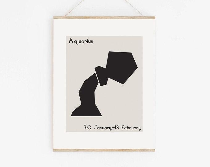 Mid Century Style Aquarius Zodiac Printable Art, Aquarius Astrology Wall Art Print, Aquarius Birthday Gift