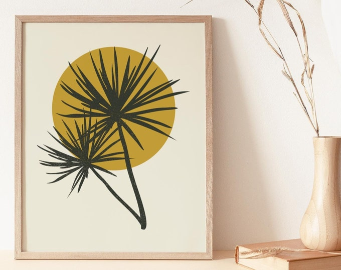 Abstract Minimalist Botanical Instant Download Print, Tropical Palm Leaf Printable Wall Art Digital Print, Boho Botanical Wall Art Print