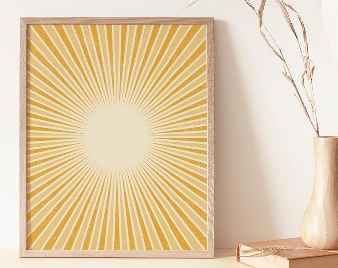 Abstract Sun Rays Neutral Boho Wall Art Print, Burnt Orange Wall Art Print Digital Printable, Abstract Sun Flares Instant Download