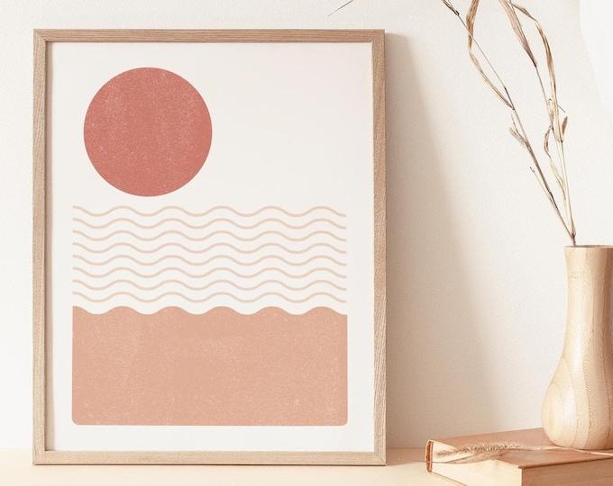Neutral Boho Seascape Wall Art Print, Mid Century Abstract Sea Printable Wall Art Digital Print, Terracotta Instant Download Print