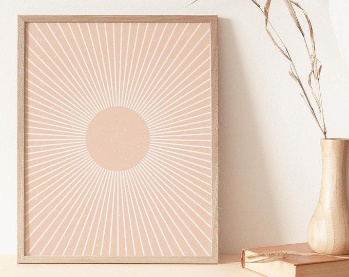 Boho Neutral Tone Sunset Wall Art Print, Abstract Sun Rays Wall Art Print Digital Printable, Abstract Terracotta Sun Flares Instant Download