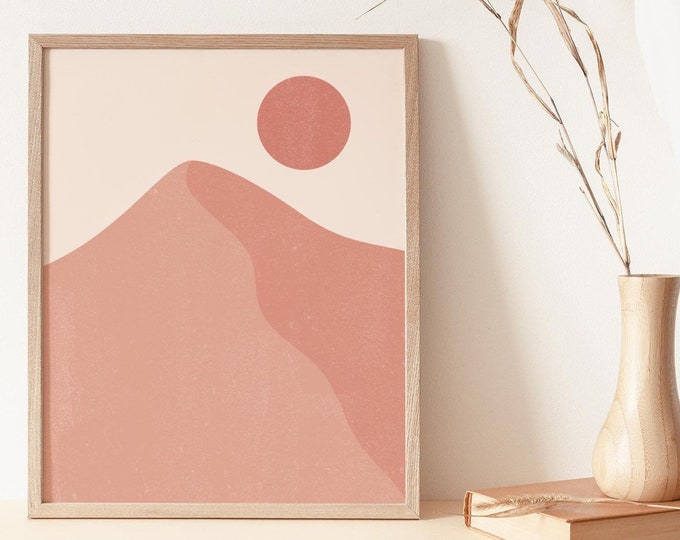 Mid Century Modern Terracotta Mountain Digital Print, Abstract Mountains Wall Art Printable, Pastel Landscape Print Instant Download