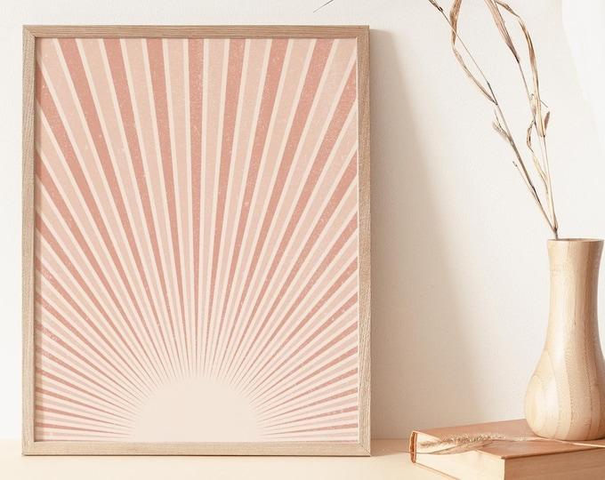 Abstract Terracotta Sun Flares Wall Art Print Digital Printable, Neutral Boho Wall Art Print, Abstract Sun Rays Instant Download