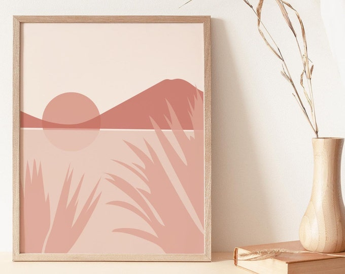 Neutral Boho Landscape Wall Art Print Digital Printable, Abstract Wall Art Print, Abstract Mountains Instant Download Print