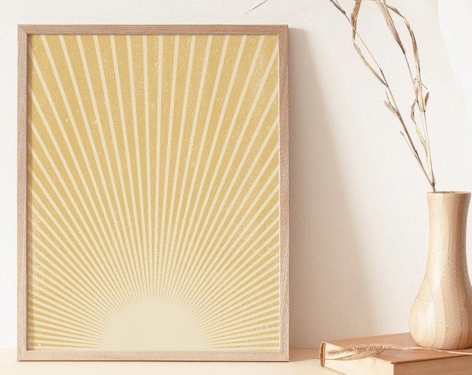 Neutral Yellows Boho Wall Art Print, Abstract Sun Rays Wall Art Print Digital Printable, Abstract Sun Flares Instant Download