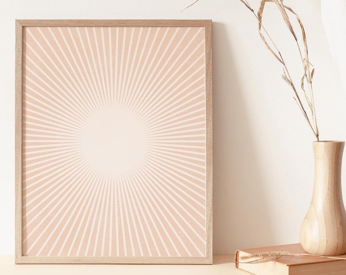 Boho Sun Rays Wall Art Print, Abstract Neutral Tone Sunset Wall Art Print Digital Printable, Abstract Terracotta Sun Flares Instant Download