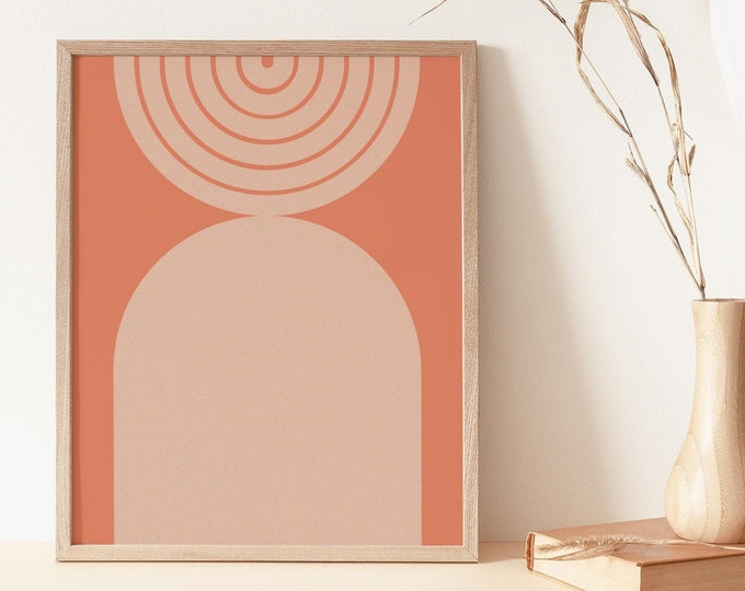 Mid Century Rainbow Wall Art Print, Abstract Terracotta Arch Printable Wall Art Digital Print, Earth Tone Art Print Instant Download