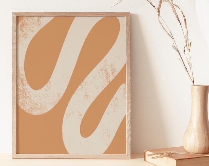 Burnt Orange Geometric Shapes Wall Art Print, Mid Century Paint Stroke Printable Wall Art Digital Print, Abstract Print Instant Download