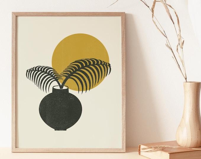 Tropical Botanical Wall Art Print, Abstract Palm Leaf Printable Wall Art Digital Print, Boho Minimalist Botanical Instant Download Print