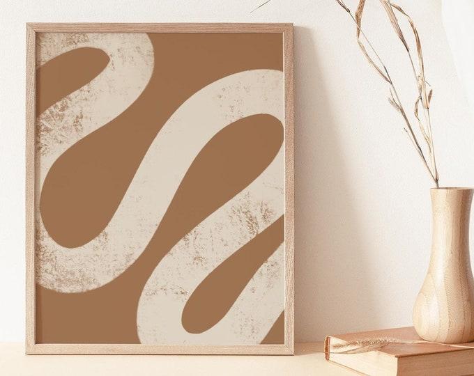 Mid Century Paint Stroke Wall Art Print, Abstract Geometric Shapes Printable Wall Art Digital Print, Neutral Tone Print Instant Download