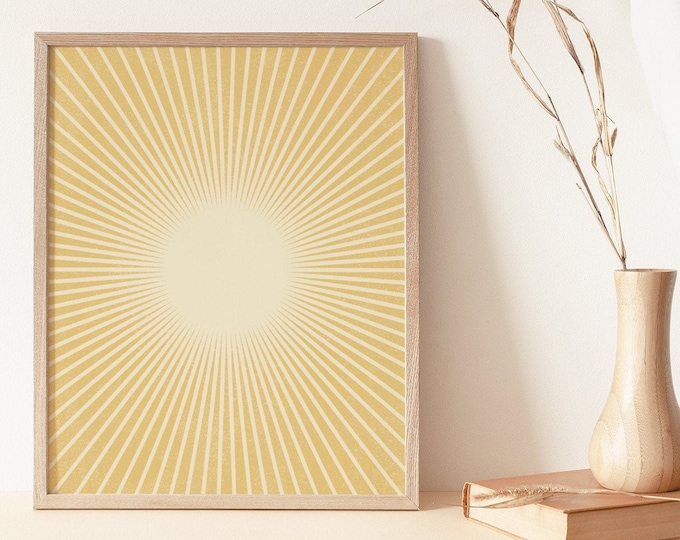 Abstract Sun Flares Wall Art Print Digital Printable, Neutral Boho Wall Art Print, Abstract Sun Rays Instant Download
