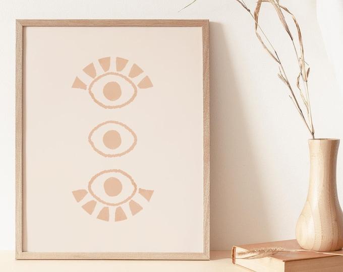 Line Drawing Eye Wall Art Print, Boho Abstract Eyes Printable Wall Art Digital Print, Burnt Orange Mid Century Instant Download