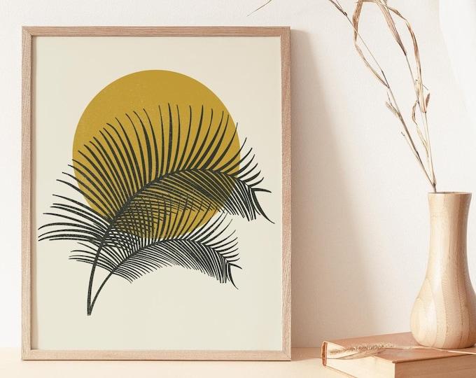Tropical Palm Leaf Wall Art Print, Abstract Botanical Printable Wall Art Digital Print, Boho Minimalist Botanical Instant Download Print