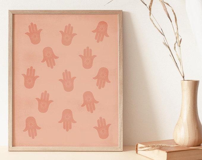 Hamsa Hands Wall Art Print, Terracotta Boho Hand Abstract Printable Wall Art Digital Print, Mid Century Hand Instant Download