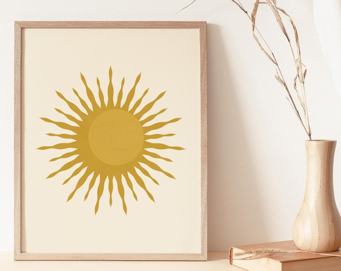 Abstract Sun Moon Print Instant Download, Boho Sun and Moon Printable Wall Art Digital Print, Mid Century Modern Printable Poster