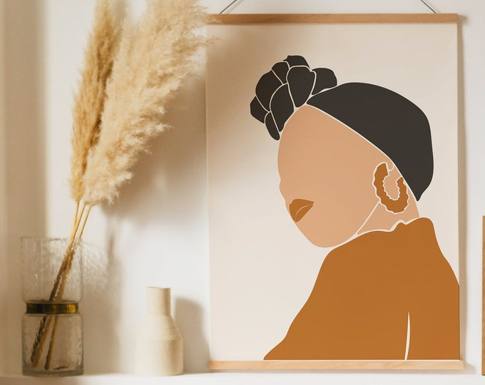 Abstract Neutral Tone Woman Face Wall Art Print, Woman Art Printable,  Modern Printable Wall Art