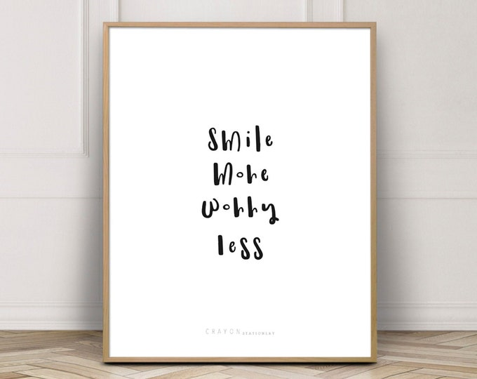 Smile More Worry Less, Hand Lettering Print, Gallery Wall, Wall Decor, Wall Art, Crayon Stationery Print, Wall Art Printable