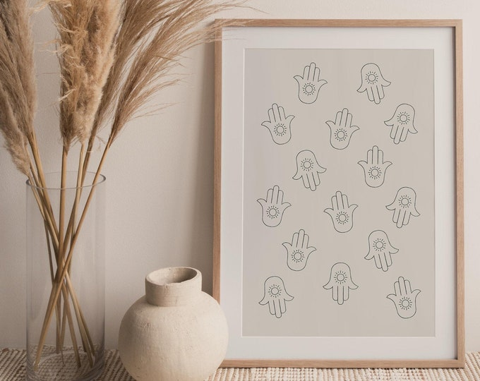 Neutral Tone Hand of Fatima Print, Boho Hamsa Hand Abstract Printable Digital Wall Art, Mid Century Instant Download