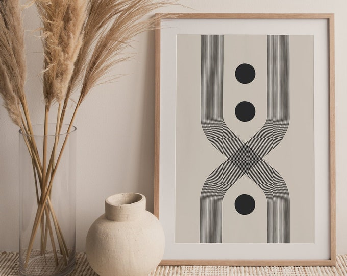 Woodblock Style Arch Printable Wall Art, Abstract Mid Century Modern Arch Printable Wall Art Digital Print, Geometric Art Instant Download